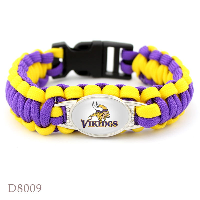 10Pcs Minnesota Vikings Bracelet Sport Team Umbrella Braided Bracelet Football Fans Gift 2 Style