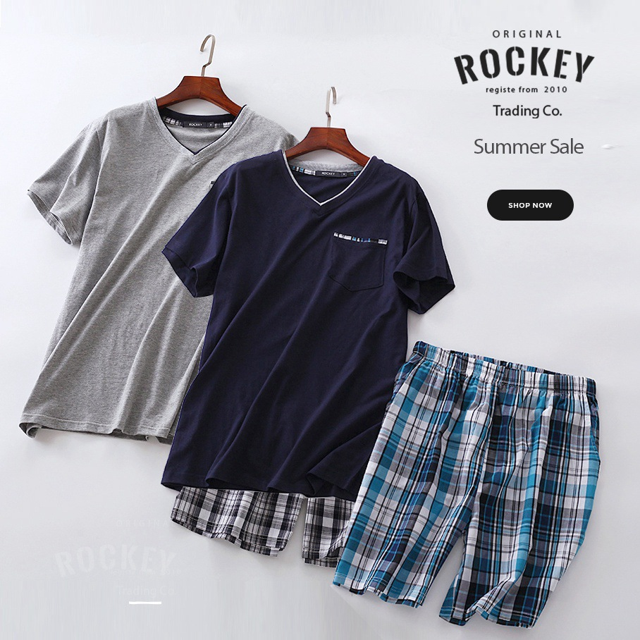 Plus Size Summer Short-sleeved Shorts Plaid Pajama Suit European Mens Cotton Mens Pyjama Sexy Sleepwear Men Pijamas Big Size Profit Small Men's Sleep & Lounge