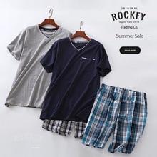 Sleepwear Men Pajama-Suit Big-Size Shorts Cotton Men's Summer Plaid Sexy European