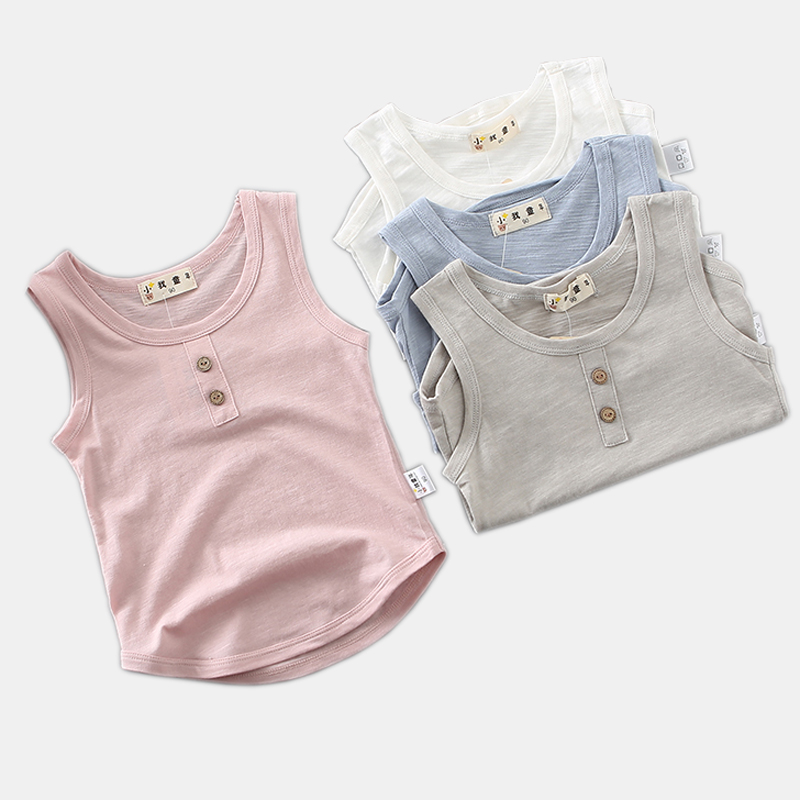 2018 Summer Childrens Clothing Casual Sleeveless Baby Boy T-Shirt Casual Bamboo Cotton Boys Girls Tops Tee DQ862