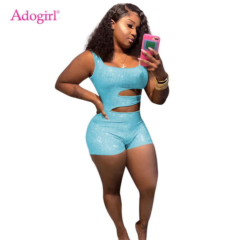 Adogirl Hollow Out Diamonds Tank Jumpsuit Women Fashion Sexy Summer Shorts Romper High Quality Playsuits Club Party Bodysuits