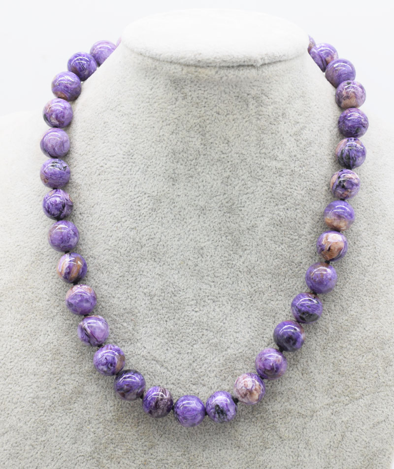 Gemstone Charoite Round Purple 8/10/12mm Necklace 18inch  Wholesale Beads Nature FPPJ Woman 2018