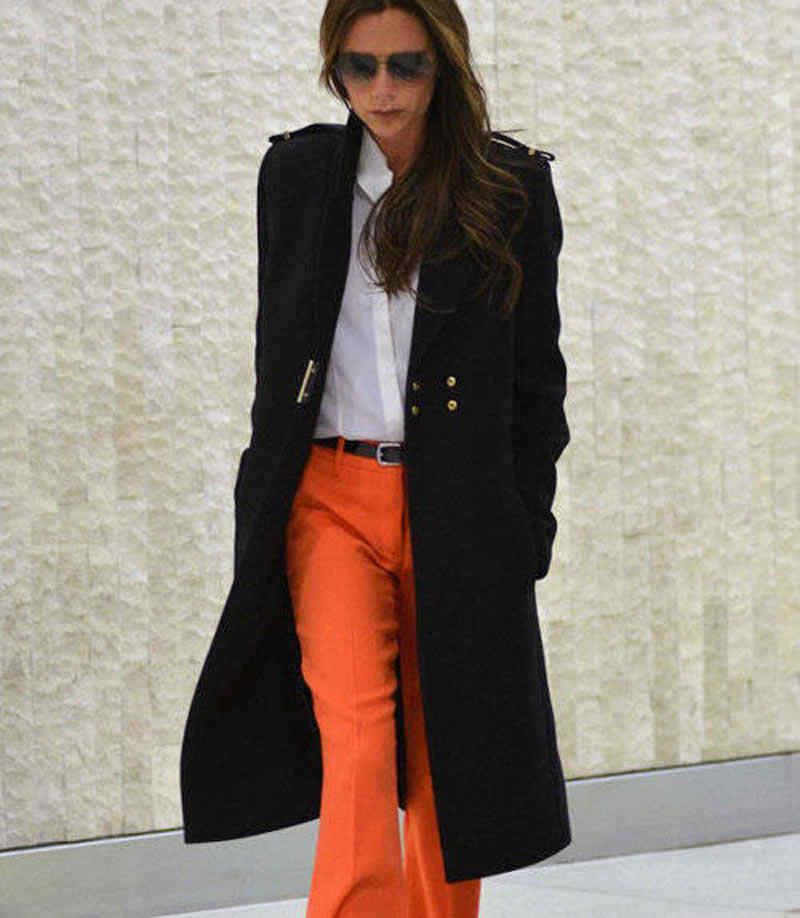 164f37db562 ... New Victoria Beckham Winter Black Wool Coat Fashion Warm Long Sleeve  Coat ...