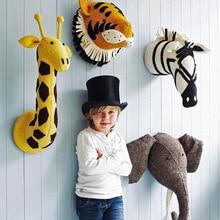 Handmade 3D Animal Head Toy Wall Decoration Flamingo Giraffe Fox Tiger Zebra Elephant Stuffed Doll Baby