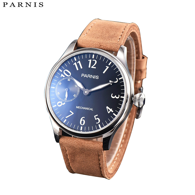 2017 Issue Casual Hand Wind Mechanical Watch Men Leather 44mm Parnis Hand Winding Men's Watch 17 Jewels Small Second and Hours цена