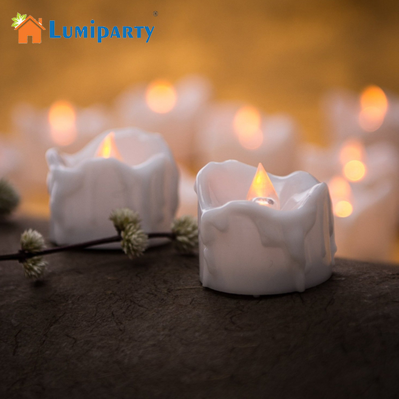 LumiParty 12pcs Amber Yellow Flickering Flameless LED Tea Light Candles Drop Tear Birthday Candle for Wedding Christmas