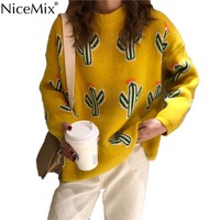 NiceMix Winter Harajuku Jumper Knitted Cactus Sweater Women Pullovers Casual Knitwear Korean Streetwear Pull Femme Hiver 2019