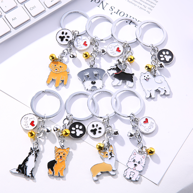 2018 Dog Keychain Metal PET Keychain Key Ring Bag Charm Animal Couple Keychain Lovely Keychain Car Keyring Gift Women Jewelry 12pcs black spring spiral retractable keyring metal clip keychain key ring
