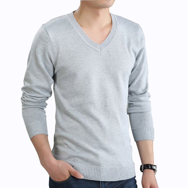 Men Sweater Autumn Winter Male V-neck Solid Color Sueter Hombre Pullover Knitted Full Sleeve Mens Sweaters Pull Homme Plus Size
