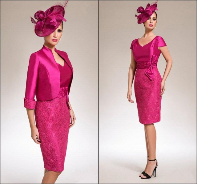 2017 Fuschia Colored Dresses Mother Of The Bride With Jacket Lace Bodycon V Neck Knee Length