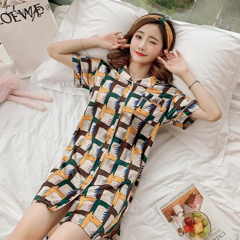 Women Sexy Lingerie Catoon Print Sleep Lounge   Nightgowns   &   Sleepshirt   Sleepwear BF Style Night Dress Nightwear Indoor Dress