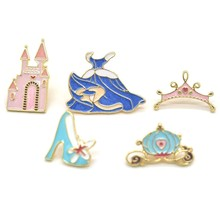 New Fashion Pins Crystal Shoe Castle Pumpkin Carriage Blue Dress Crown Brooch Denim Pin Buckle Shirt Badge Gift For Girls(China)