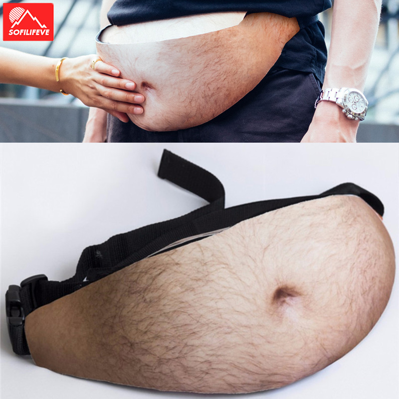 Freak Rediculous Belt Dad Pregnant Funny Joke Pack Wallet Eye catching Novelty Bags Fat Guy Simulate Bags Big Belly Waist Bag in Running Bags from Sports Entertainment