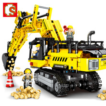 SEMBO Expert Technique Mechanical Excavator Construction Model Building Blocks Sets Bricks Boys Kids Toys 151pcs electric tank engine thomas and friends trains new sets model building blocks bricks railway toy boys kids assembly toys