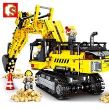 Technic Creator Expert 기계 굴삭기 건설 차량 빌딩 블록 키트 벽돌 클래식 모델 완구 어린이 선물