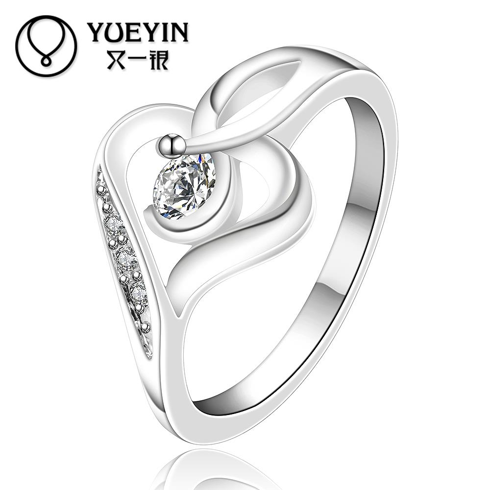New Design silver rings for women heart shape wedding ring inlaid ...