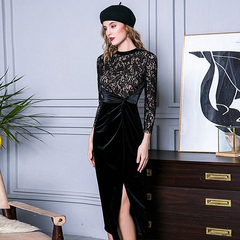 Robe De Patchwork O Velours Poignet Style Asymétrique Manches Cou Dentelle Conception Nouveau 2019 Mode Noir Parti Femmes Robes Ugx6qw6dA