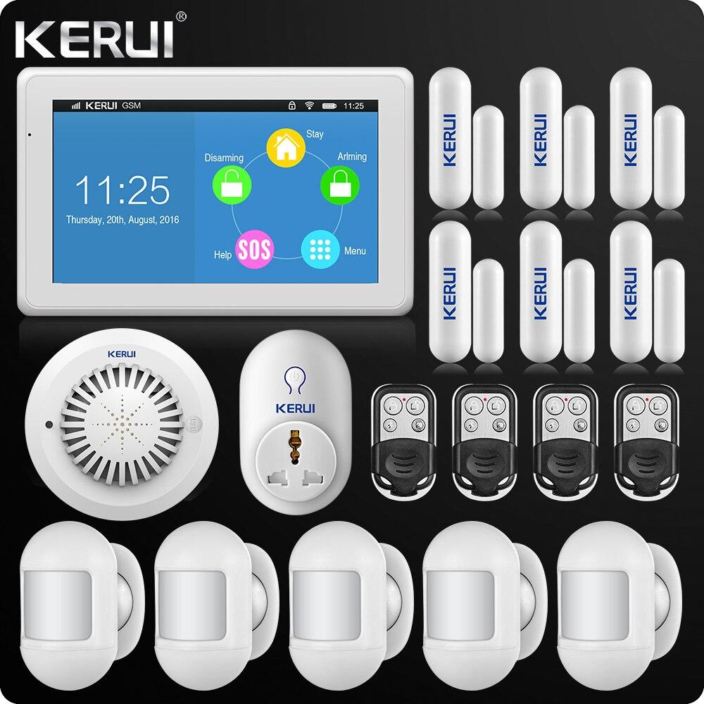 Plus grand Tactile-Écran 7 pouce TFT Couleur D'affichage WIFI GSM Alarme Système D'alarme de Sécurité À Domicile Portable PIR Capteur Intelligent socket
