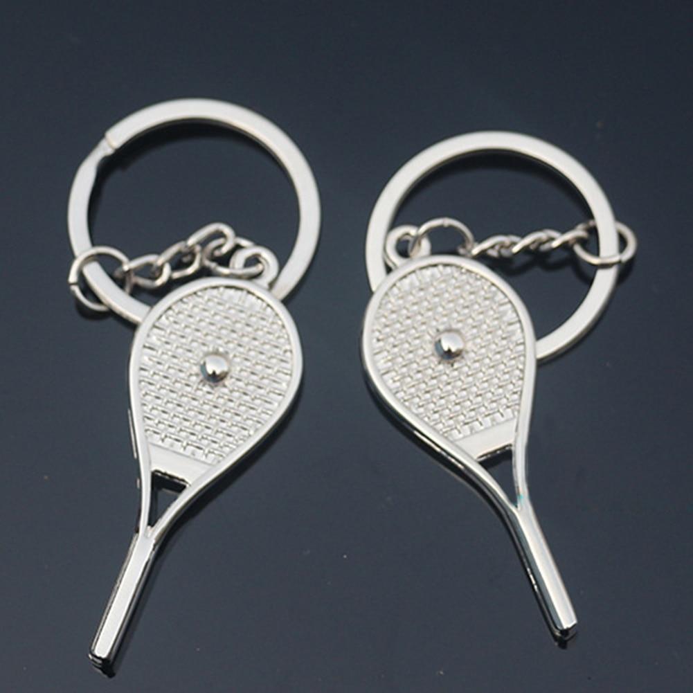 1 Pair Fashion Zinc Alloy Tennis Racket Shape Key Chain Sports Bag Car Keychain
