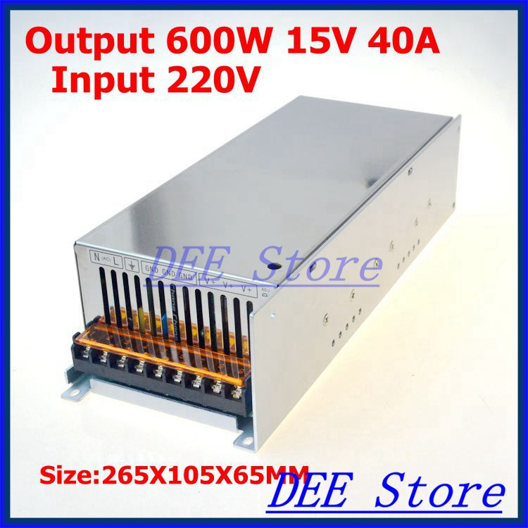 Led driver 600W 15V(0V-16.5V) 40A Single Output  ac 220v to dc 15v Switching power supply unit for LED Strip light switching power supply 350w 15v 23a single output watt power supply for led strip ac110v 220v transformer to dc 15v