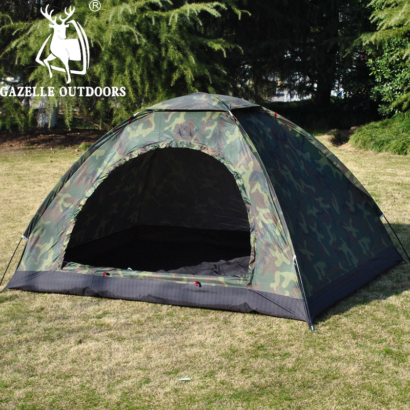ФОТО GAZELLE OUTDOORS 1-2 person Waterproof camouflage beach Layer Tent Ultralight Outdoor Hiking Camping Tent Picnic Tents