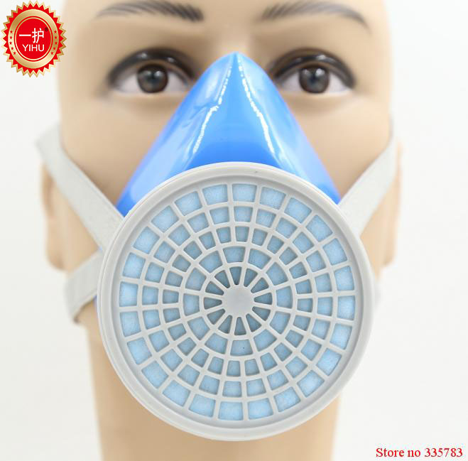 YIHU High quality respirator gas mask pesticides paint spraying gas mask blue silica carbon filter mask respiratory face shield yihu gas mask blue two pot efficient respirator gas mask paint spray pesticides industrial safety protective mask