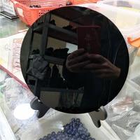 DHX SW огромный 20 см натуральный черный обсидиан пластина фэншуй толстое зеркало круг диск Рейки Исцеление Кристалл Камень с бесплатной полко...