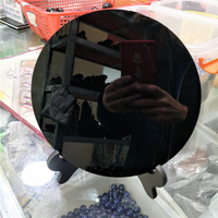 DHX SW huge 20cm natural black obsidian plate fengshui thick mirror circle disk reiki healing crystal stone with free shelf