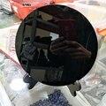 O disco grosso do círculo do espelho de fengshui da placa obsidiana preta grande 20cm de dhx sw cura a pedra de cristal com prateleira livre