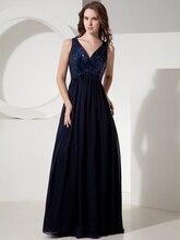 Echt Bilder Marineblau Einfache Reich Taille Chiffon Pailletten Abendkleider V-ausschnitt Riemen Bodenlangen Spezielle Gelegenheits-kleid