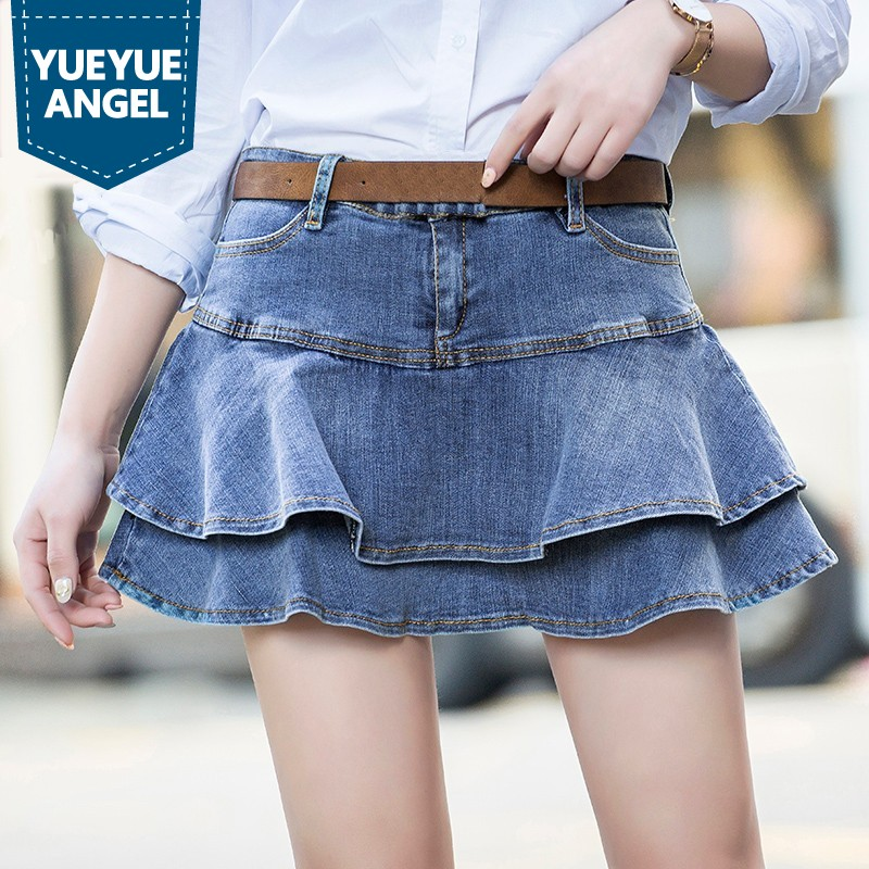 c9f1cc633f12d 2019 Summer Ruffles Mini Jeans Skirt Women Sexy High Waist Short Pleated  Skirts Fashion Casual Lady Denim Skirts Faldas Mujer-in Skirts from Women s  ...