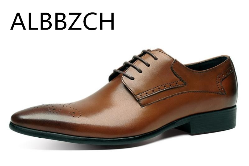 Pointed Toe Genuine Leather Dress Men Shoes Trend Brouge Carving Mens Wedding Shoes Black Brown Business Office Work Man ShoesPointed Toe Genuine Leather Dress Men Shoes Trend Brouge Carving Mens Wedding Shoes Black Brown Business Office Work Man Shoes