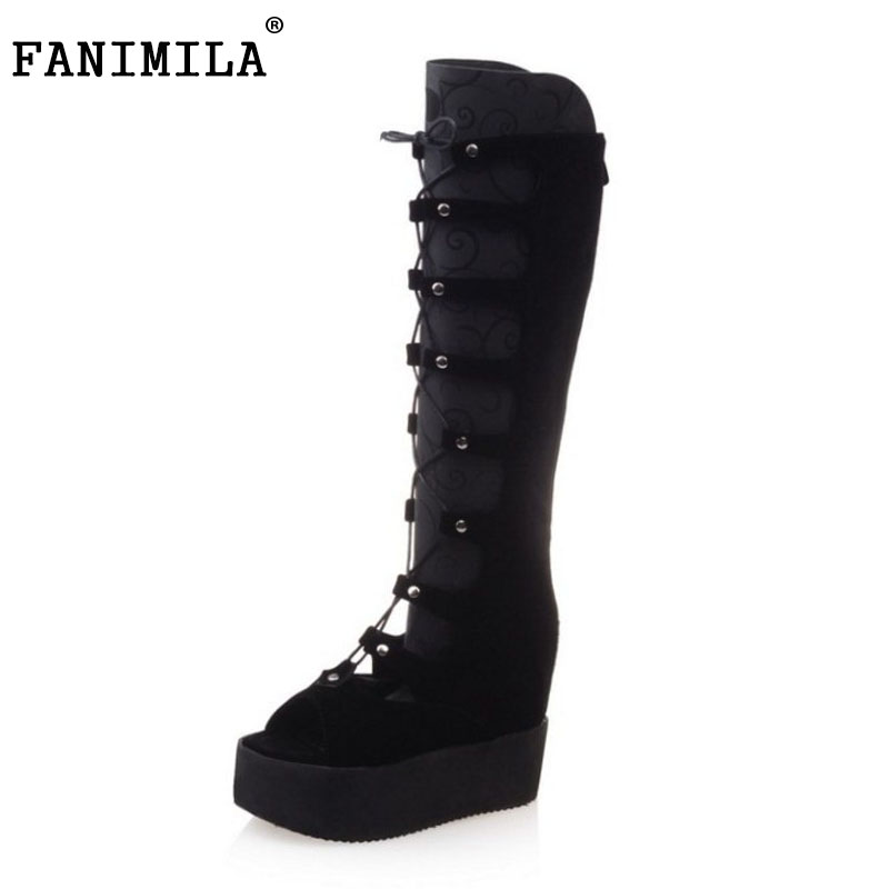 FANIMILA Size 34-43 Women Thick Platform Wedges Summer Boots For Lady Cross Strap Gladiator Shoes Women Peep Toe High Heel Shoes summer shoes woman platform sandals women soft leather casual peep toe gladiator wedges women 7cm high heel shoes zapatos mujer