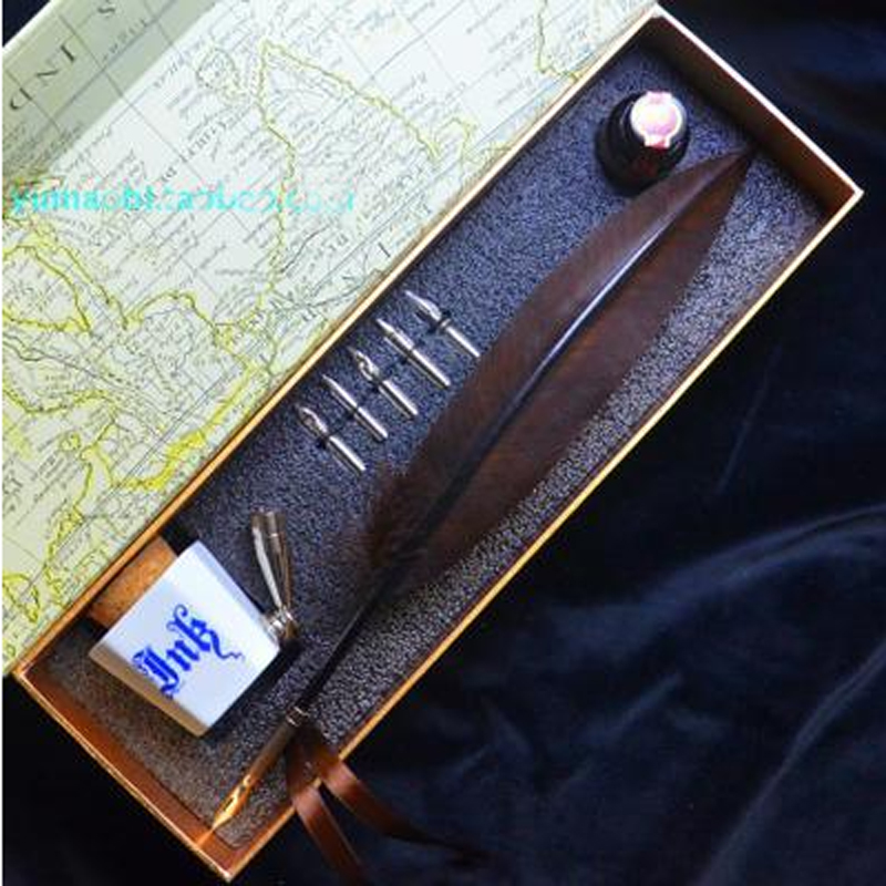 Coffee Color Quill Feather Pen Set with 5 Nibs 1 Ink Ceraminc Pen Holder Signature Calligraphy Wedding Gift Handwriting Dip Pen цены