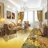 Envío Libre 3D estéreo grupo parquet pisos de Oro gradiente gráficos pintura cocina personalizada papel pintado mural