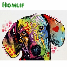 hot deal buy homlif full round drill 5d diy diamond painting dachshund dog 5d diamond embroidery cross stitch kits diamond mosaic home decor