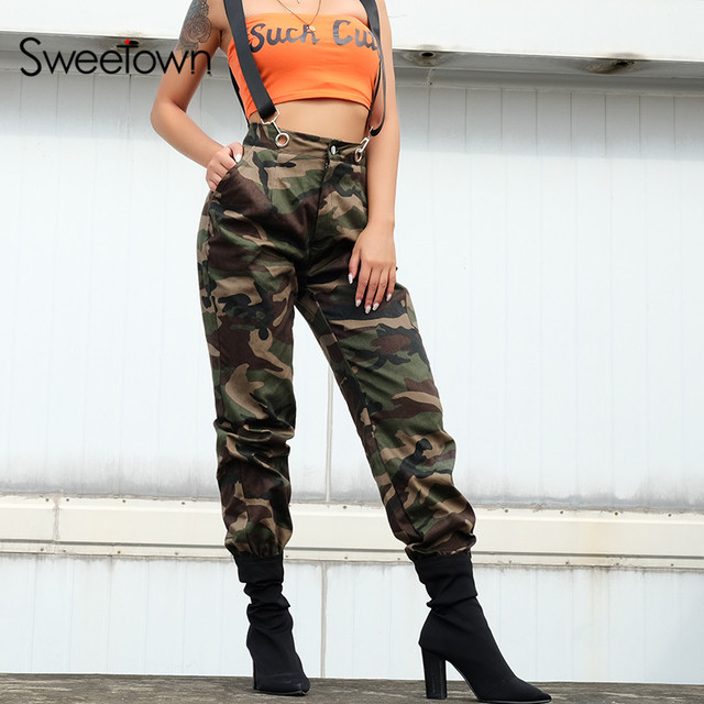 84f861170474 Sweetown Camouflage Overalls Long Pants Women Street Style Pantalon Femme  Cargo Pants Streetwear Autumn Winter Cotton Camo Pants