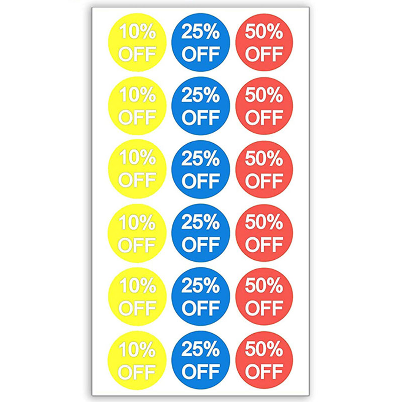 10% 25% 50% Percent Off Stickers 3/4 Inch 1500 Adhesive Discount Stickers, Yellow, Blue, Red With White Lettering