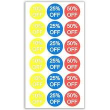 10% 25% 50% off 스티커 3/4 인치 1500 접착 성 할인 스티커, 노란색, 파란색, 빨간색 흰색 글자