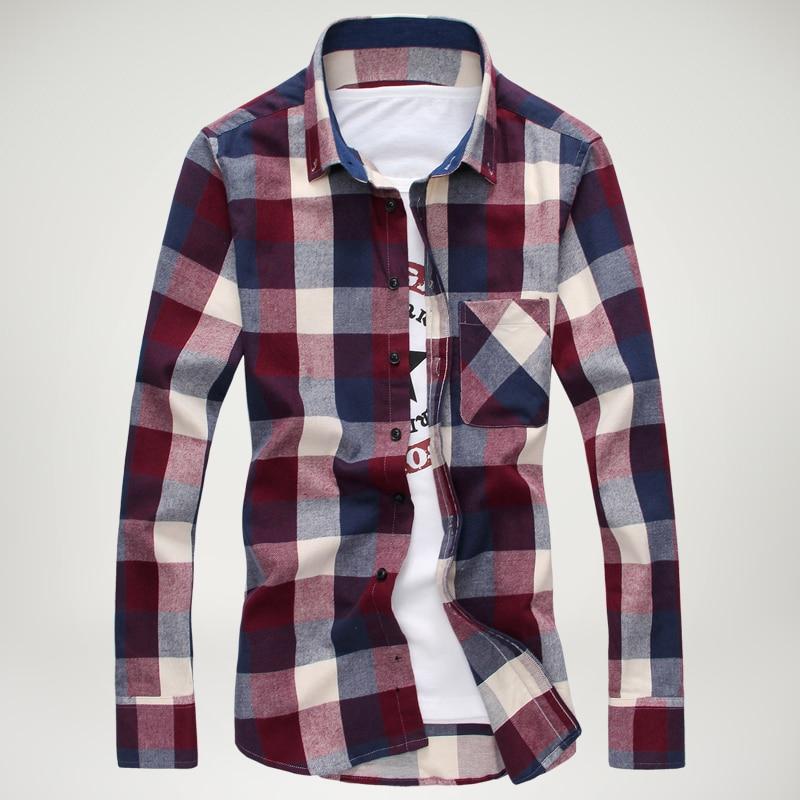 2014 new Fashion plaid long sleeved shirts men, casual slim fit ...