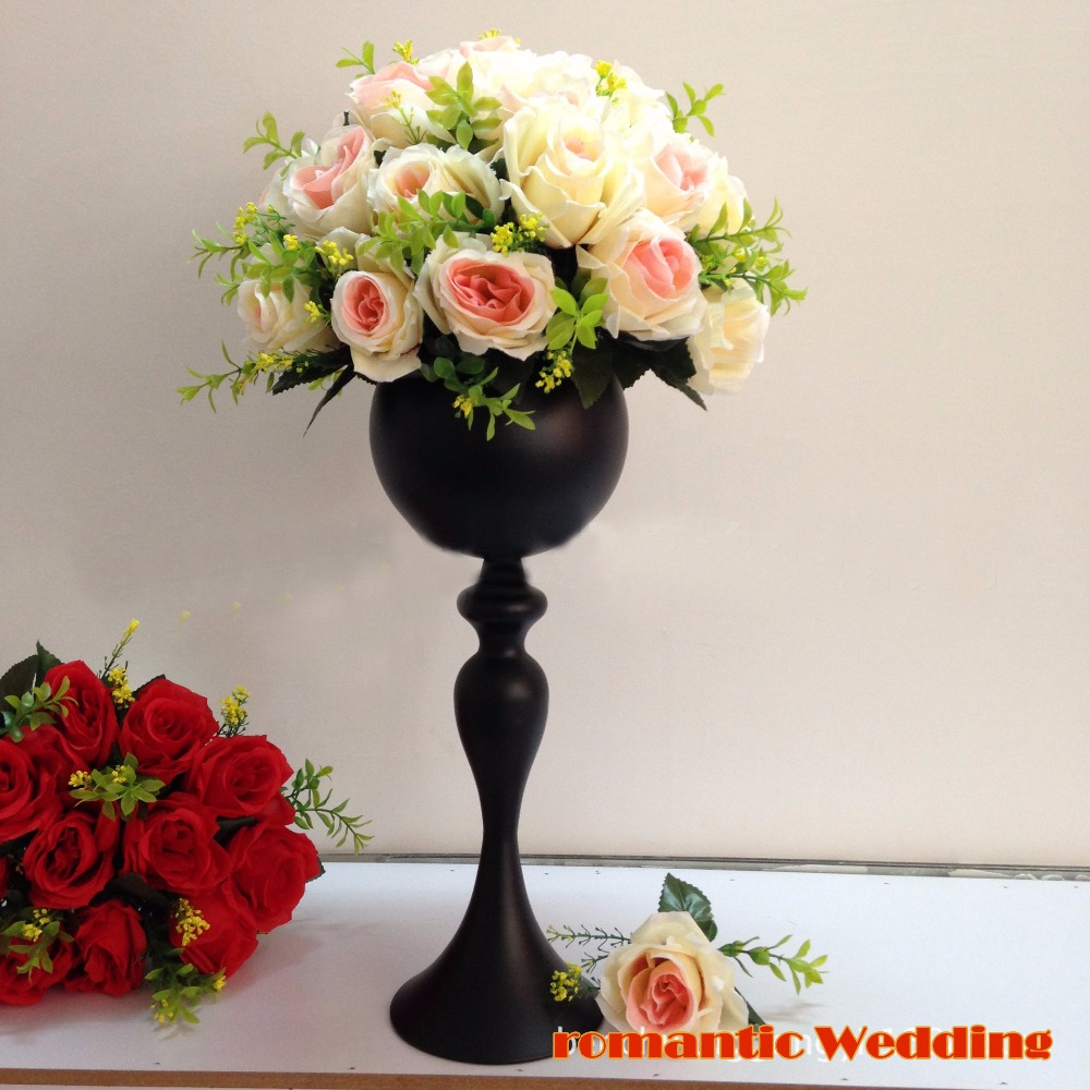 40cm 157 tall black metal party flowr vase wedding table flower 40cm 157 tall black metal party flowr vase wedding table flower stand decoration wedding supplies 10pcslot in vases from home garden on aliexpress izmirmasajfo Images