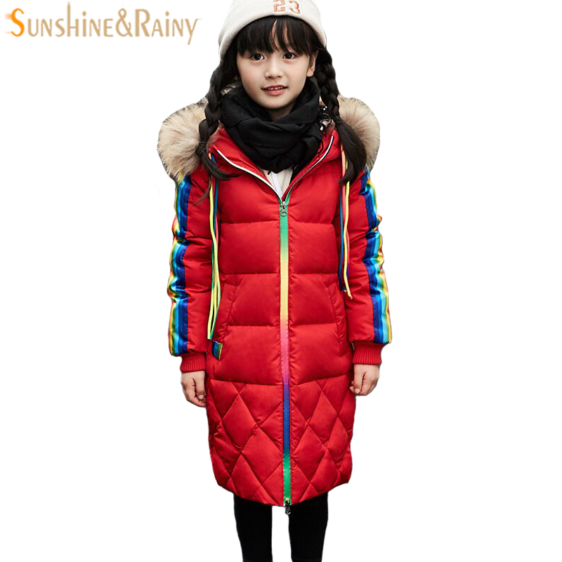d3804343d8c Girls Down Jacket For Boys Coat Fashion Rainbow Children Outerwear Winter  Snow Wear Thicken Hooded Coat With Faux Fur Collar