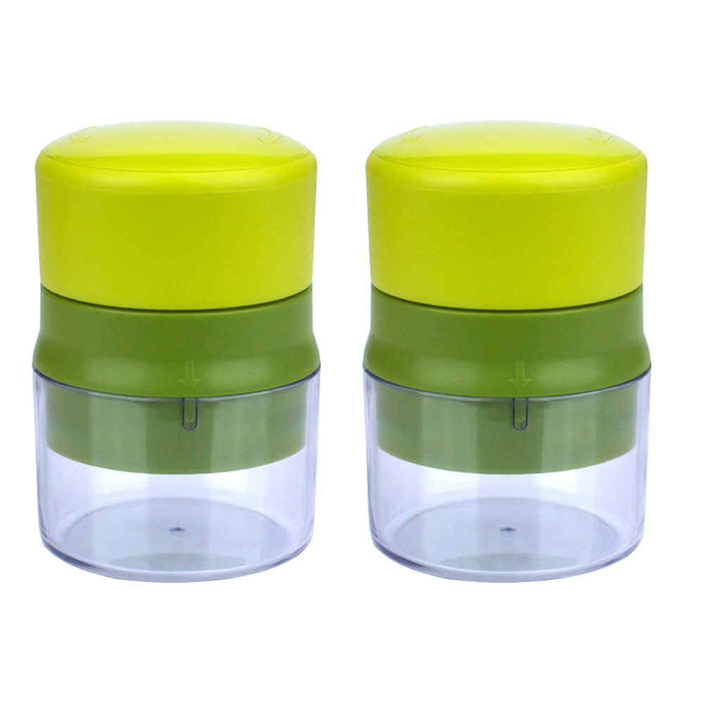 2Pcs Practical Garlic Press Machine Multifunction Mincer With Storage Container Kitchen Gadget Light Green And Dark Green in Mills from Home Garden