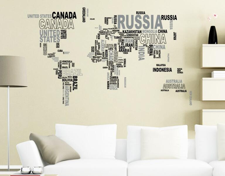 Nation name country names world map decorative sticker decal in nation name country names world map decorative sticker decal in words large text world map stickers for home office decor in decorative films from home gumiabroncs Images