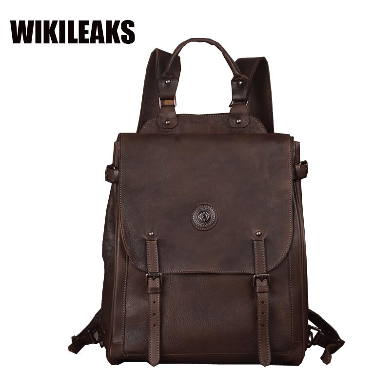 New Vintage style Handmade Genuine Cow Leather Nature Cowhide Brown Coffee Retro 15 Inch  Laptop Travel School Backpacks