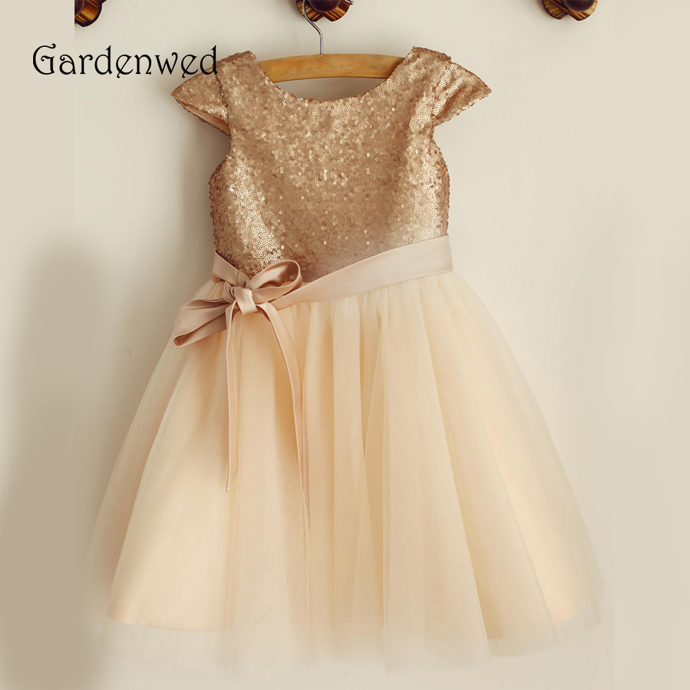 Gardenwed 2019 Golden Sequin   Flower     Girl     Dresses   Cap Sleeves Bow Knot Ribbons Little   Girls   Kids Short Wedding Party Baby   Dress