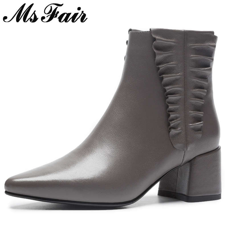 MSFAIR Women Boots Metal Zipper Ankle Boots Women Shoes Pointed Toe High Heel Boots Genuine Leather Black Boot Shoes For Girl gaozze genuine leather women shoes sexy high heel boots 2017 pointed toe ankle boots for women side zipper ankle boots shoes