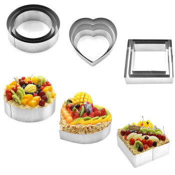 3 Pcs/Set Stainless Steel Mousse Ring Mold Cookie Cutter Baking Biscuit Mold Pastry Tools Accessories Salad Form Baking Tips