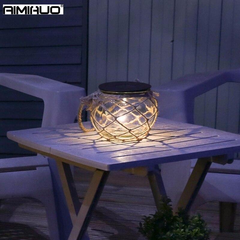 AIMIHUO Solar LED Lamp Glass Cans Lights Lantern Waterproof Straw Rope Solar Garden Light Decoration LED Night Lamp Lanterna