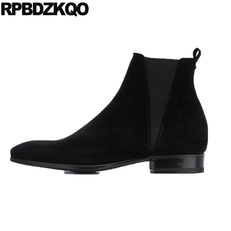 Cuero Negro A Cremallera Otoño Hecho Genuino Grandes Botas 2018 Grande Zapatos Gamuza Hombres Talla Mano Botines Corto Puntiaguda Punta Tobillo Vestido HXx8q